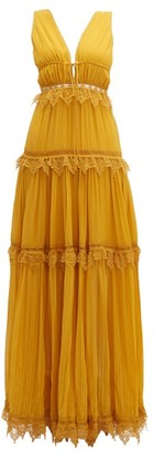 Jonathan Simkhai Lace-trimmed Tiered Silk Maxi Dress - Womens - Dark Yellow