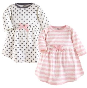 Touched by Nature Baby Girl Organic Cotton Dress, Long Sleeve 2-Pack