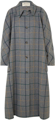 A.W.A.K.E. Mode Oversized Checked Wool-blend Coat