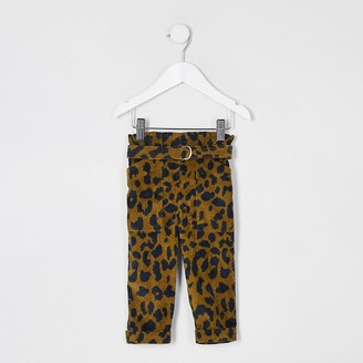 River Island Mini girls leopard cord paperbag trousers