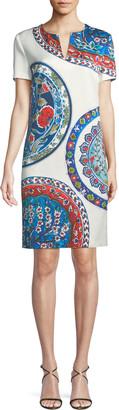 Escada Short-Sleeve Pottery-Medallion Print Chemise Dress