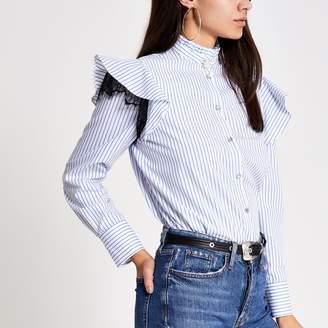 River Island Womens Blue stripe lace frill long sleeve shirt