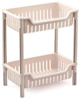 LFHT Plastic Basket Square Floor Stand Rack Bathroom Shelves for Home Household Kitchen