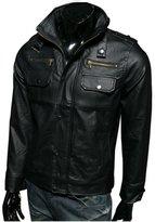 Zhuhaixmy Men Slim Pu Leather Motorcycle Jacket Collar Casual Short Sports Coat