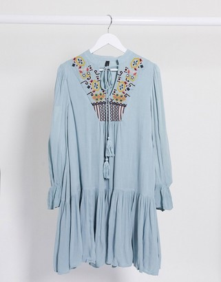 Y.A.S embriodered smock dress in blue