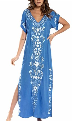 L Peach L-Peach Women's Beach Caftan Oversized Nightgown Bohomian Kimono Roomy Sleepwear Biniki Cover Ups Sarong Pareo Dark Blue