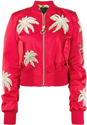 Philipp Plein Crystal Embellished Bomber Jacket