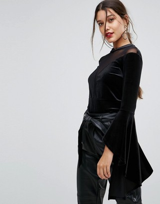 Ivyrevel Going Out Flared Sleeve Top With High Neck Mesh Detail