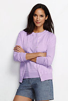 Classic Women's Petite Supima Pointelle Cardigan Sweater-Misty Lilac