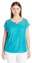 Fresh Women's Plus-Size Dolman Sleeve Lace Paneled Top