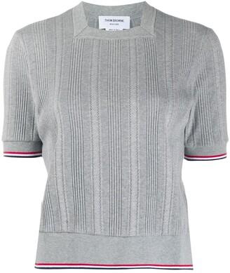 Thom Browne Square Neck Knit Stripe Top