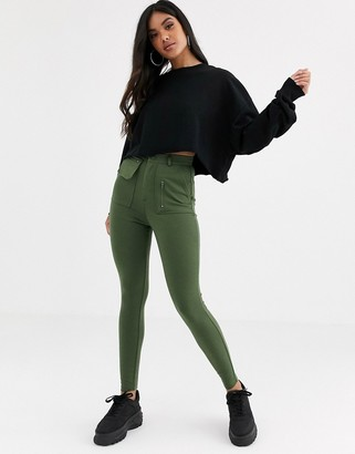 Asos DESIGN ponte skinny pant with utility pockets