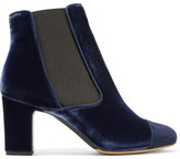 Tabitha Simmons Micki Nubuck-trimmed Velvet Ankle Boots - Midnight blue