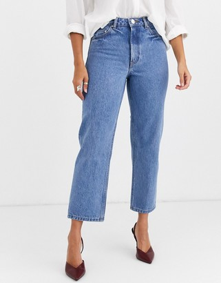 Asos Design DESIGN Recycled Florence authentic straight leg jeans in pretty mid stonewash blue