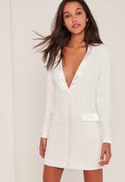 Missguided White Satin Contrast Blazer Dress