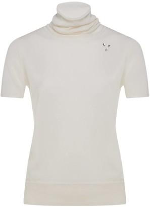 Nemozena White Short Sleeve Turtle Neck Sweater