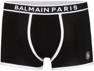 Balmain Two-Tone Logo-Print Stretch-Cotton Boxers