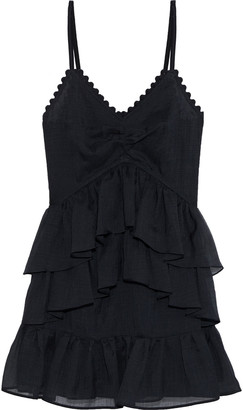 Victoria Victoria Beckham Tiered Crinkled-voile Mini Dress
