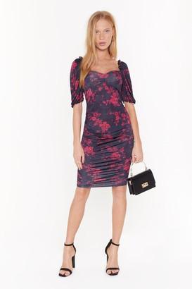 Nasty Gal Womens Floral Night Long Ruched Midi Dress - black - 4