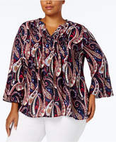 Charter Club Plus Size Paisley Ruffle-Sleeve Top, Created for Macy's