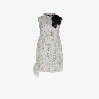 Miu Miu Floral Bow Neck Mini Dress