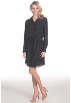 Suzi Chin for Maggy Boutique L/S Shirtdress w/ Laser Cut Hem