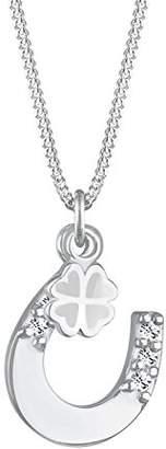 Elli Women's 925 Sterling Silver Xilion Cut Swarovski Crystal Clover Leaf Horse Shoe Pendant Necklace of Length 45 cm