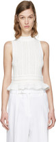 3.1 Phillip Lim White Pointelle Cropped Tank Top
