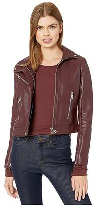 Blank NYC High Collar Vegan Leather Moto Jacket in Merlot (Burgundy) Women's Clothing