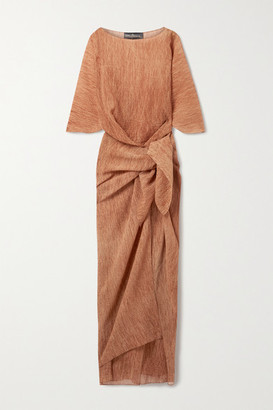 Cortana Net Sustain Terra Draped Knotted Cotton And Silk-blend Crepe Maxi Dress - Orange