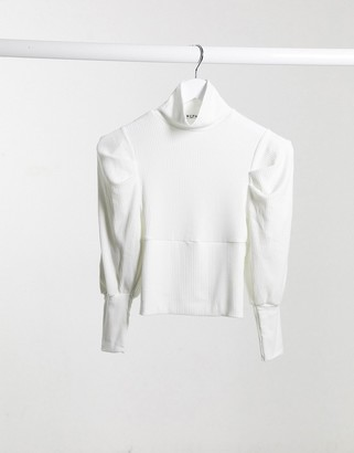 NA-KD ribbed puff-sleeved high-neck top in cream