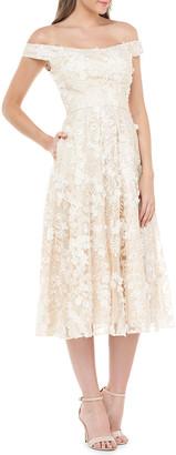 Carmen Marc Valvo Off-the-Shoulder 3D Floral Cocktail Dress