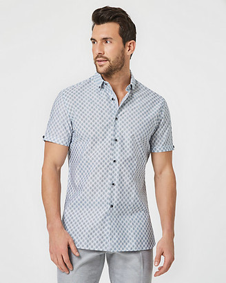 Le Château Geo Print Cotton Athletic Fit Short Sleeve Shirt