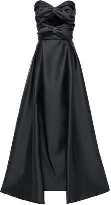 Alberta Ferretti Cutout Bow-embellished Satin-twill Gown