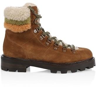 Jimmy Choo Eshe Shearling-Trimmed Suede Hiking Boots