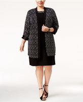 R & M Richards Plus Size Chevron Jacquard Dress and Duster Jacket