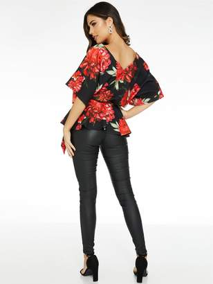 Quiz Floral Print Batwing Belted Top - Black Red