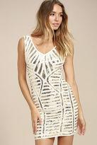 LuLu*s Casino Night White and Gold Sequin Bodycon Dress