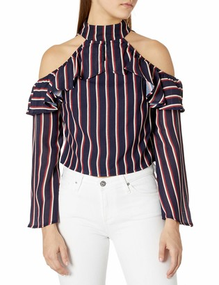Lucca Couture Women's Mia Cold Shoulder Stripe Ruffle Top