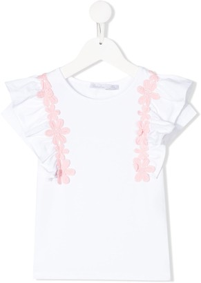 Patachou floral embroidered ruffle sleeve T-shirt