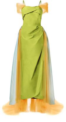 Rodarte Draped Tulle Taffeta Gown