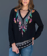 Paparazzi Black Leaf Embroidery V-Neck Top