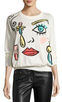 Moschino Fantasy-Print Crewneck Sweater, White