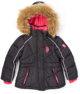 U.S. Polo Assn. Black Quilted Puffer Coat - Toddler & Girls