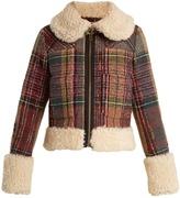 Chloé Shearling and wool-blend tweed jacket