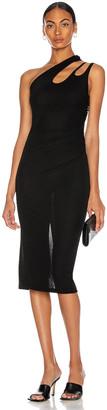 Thierry Mugler Cutout One Shoulder Dress in Black   FWRD