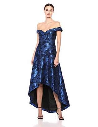 Calvin Klein Women's Off The Shoulder Gown with Hi Low Hem Dress