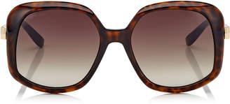 Jimmy Choo AMADA Brown Shaded Cat Eye Sunglasses with Dark Havana Frame