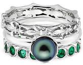 Simply Stacks Sterling Fleur-de-Lis Simulated Emerald Ring Set