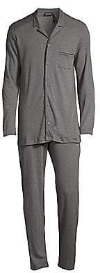 Hanro Men's Basic Piped 2-Piece Long Pajama Set